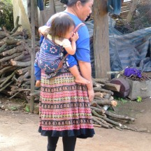 Hmong woman with baby carrier