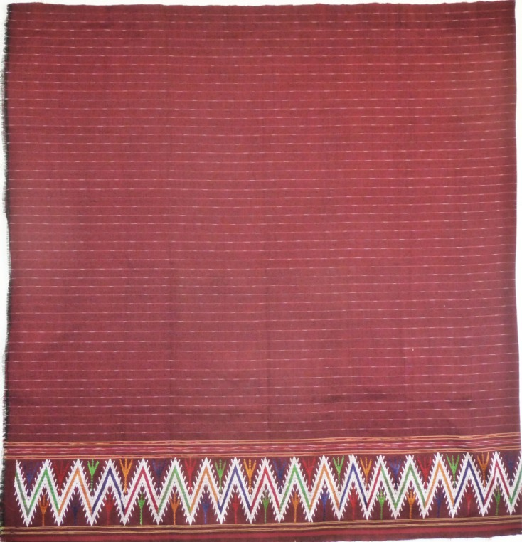 Cranberry sarong with zig-zag hem, Cotton and Silk