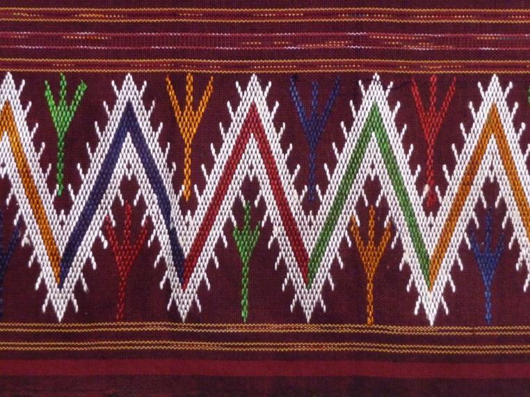 Cranberry sarong with zig-zag hem, detail