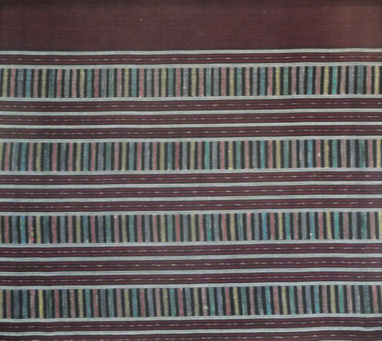 Burgundy cotton sarong with multicolor silk stripes