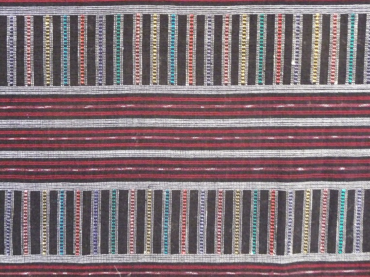 Burgundy cotton with multicolor silk stripes, detail