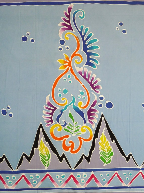 Hand painted blue Batik, cotton, detail