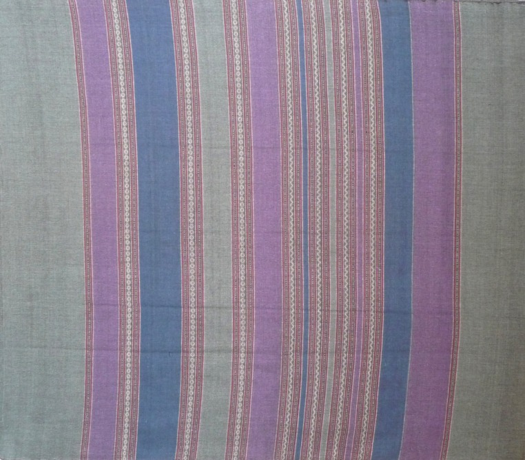 Purple, grey, and teal, muted color and finely woven design.