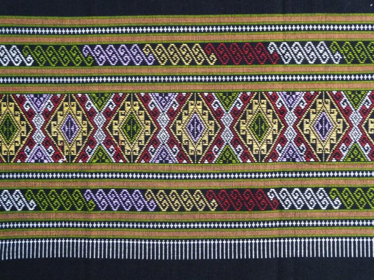Black Cotton Sarong with Woven diamond decoration, detail