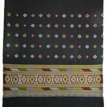 Black cotton sarong with woven diamond decoration