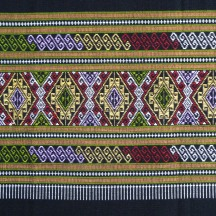 Black Cotton Sarong with Woven diamond decoration, detail